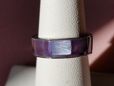 - Wide Stainless Steel With Purple Mother of Pearl Shell Inlay Band Style Ring
