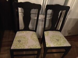 Black chairs w/ fabric seats- available