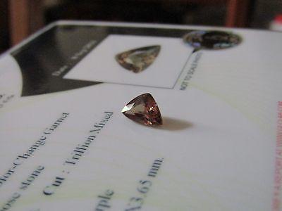 Rare Certified  1.15 Carat Trillion Cut Colour Change Garnet.