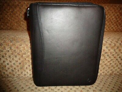 Franklin Covey Spacemaker Black Leather Monarch Size Zipper Close Slim Planner