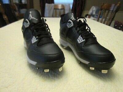 1a9a997c55d9 NEW Nike Air Jordan IV 4 Retro Metal Baseball Cleats Oreo Black Sz 14  807710-010