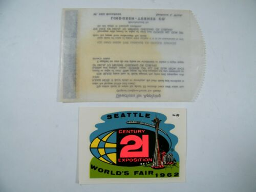 1962 SEATTLE WORLDS FAIR LINDGREN-TURNER DECAL NEW