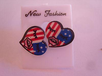 Ohrring mit Amerikanische Flagge in Herzform und Gesicht aus Kunststoff 3457