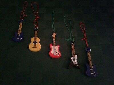 Guitar Christmas Ornaments / Bass/Acoustic/Electric/Fender NEW w/o Tags LOT OF 5 - Guitar Ornaments