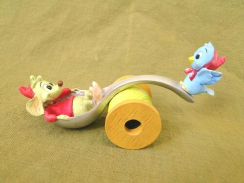 Disney Cinderella: Jaq and Blue Bird on a Spoon Seesaw on a Real of Thread