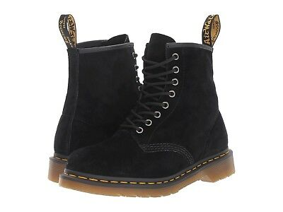 NIB Dr. Martens Men's 1460 Soft Buck Combat Boot 8 Eyes Black Leather US 10 (Black Soft Buck Leather)