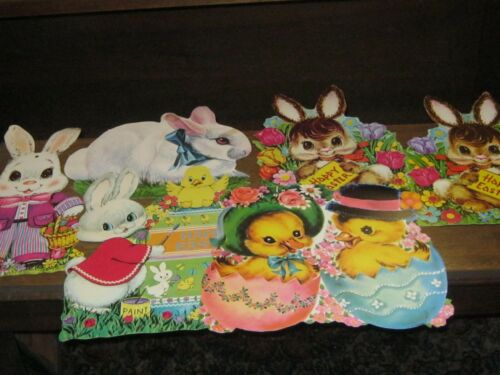 COLORFUL EASTER DIE CUT CARDBOARD CUTOUT DECORATIONSLOT OF 6