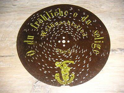 O du fröhliche Polyphon Blechplatte 16,4cm Spieluhr clock antique music box disc