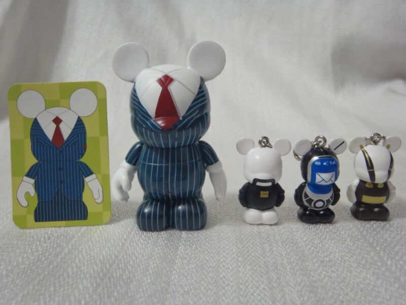 "Disney Vinylmation Occupation BUSINESS MAN SET 3"" + All (3) 1.5"" Mickey Figures"