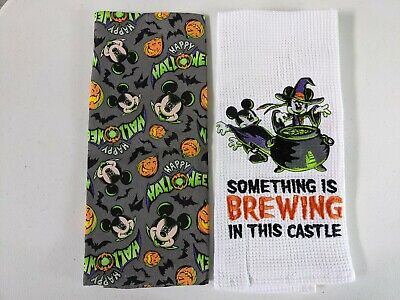 Disney Parks Happy Halloween Mickey Minnie Mouse Brewing Kitchen Towel Set Dish