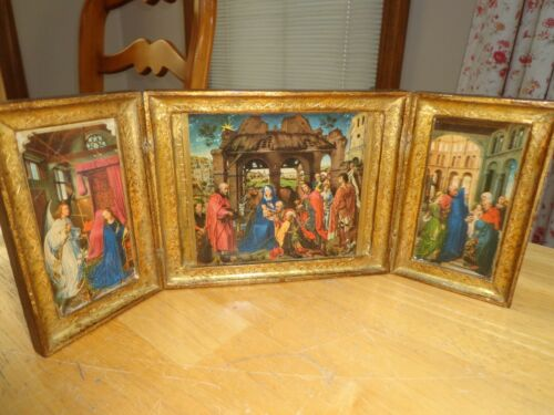Vintage Gold Tole Wood Italian Florentine Nativity - Life of Jesus Triptych