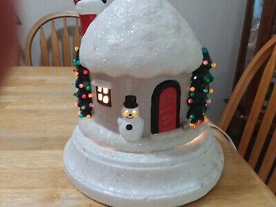 Vintage Ceramic Christmas Electric Light Up Snow Covered House Trees and Santa