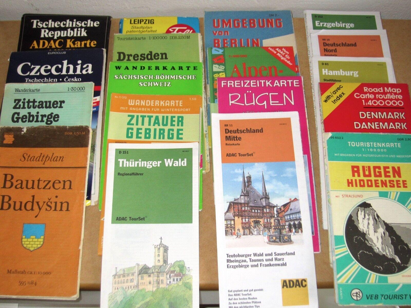 18 Stück alte Wanderkarten Stadtpläne Landkarten DDR CSSR