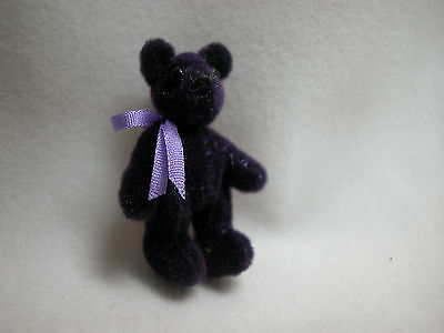 "World of Miniature Bears 1.25"" Plush Bear Purple  #181 Collectible Bear"