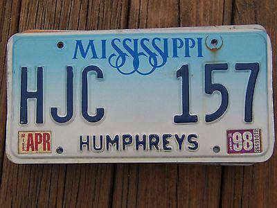 HJC 157 = April 1998 Humphreys county Mississippi License plate   ***ManCave***