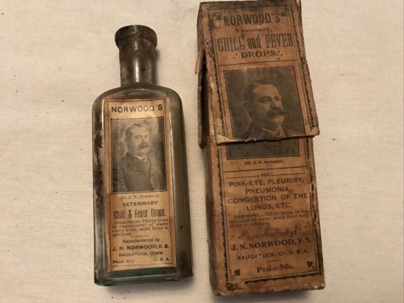 NORWOOD'S Chill & Fever Drops Veterinary Vintage Medicine Bottle, Original Box