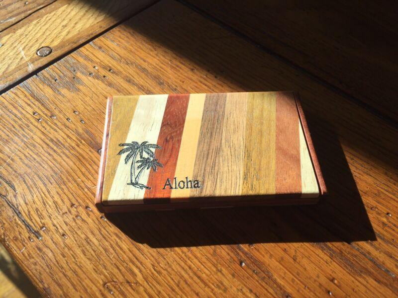 HANDMADE NATURAL WOOD BUSINESS CARD HOLDER POCKET CARD..ID..CREDIT CASE.ALOHA