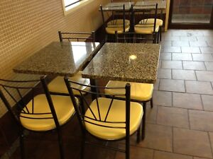 Granite table tops with chairs