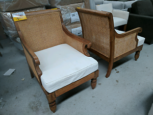 Hardwood and Cane Wicker Arm Chair - EX DISPLAY Epping Whittlesea Area Preview