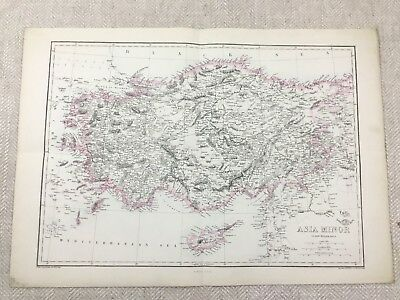Antique Map of Asia Minor Europe Cyprus Old Hand Coloured 19th Century Original