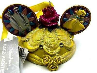 Disney Parks Belle Beauty And The Beast Ear Hat Ornament New Princess Christmas ()