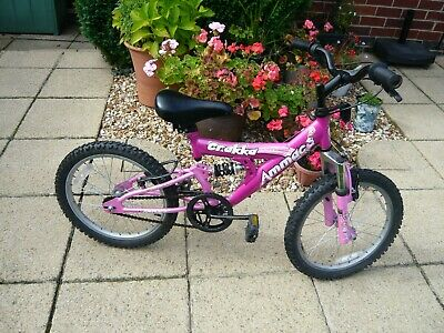"""Ammaco Crakka Girls 18"""" Wheel Pink bike with Front and Rear Suspension"""