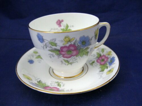 SAMPSON SMITH OLD ROYAL TEA CUP & SAUCER DELICATE MIXED PASTEL FLOWERS - ENGLAND