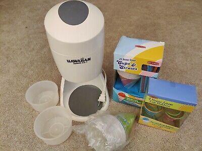 Hawaiian Shaved Ice Maker Ice Machine 2 Round Cup Molds Cones Holders