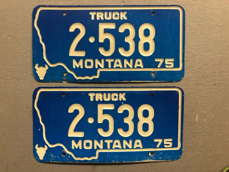VINTAGE 1975 MONTANA LICENSE PLATE PAIR/SET BLUE/WHITE 2-538 TRUCK CASCADE