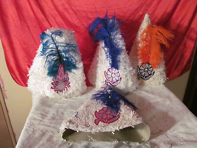 12 Vintage New Years Eve Party Hats Ruffled Crepe-Paper Fringe 4 Styles