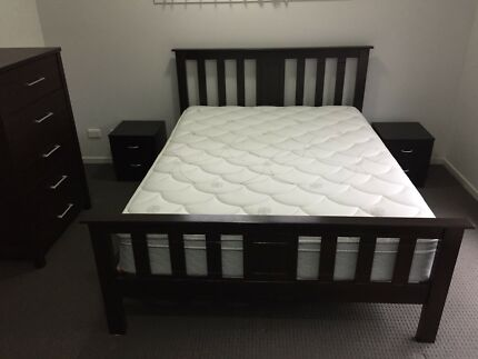 Wooden Queen Slat Bed Frame, Sealy Mattress, Tallboy Draws