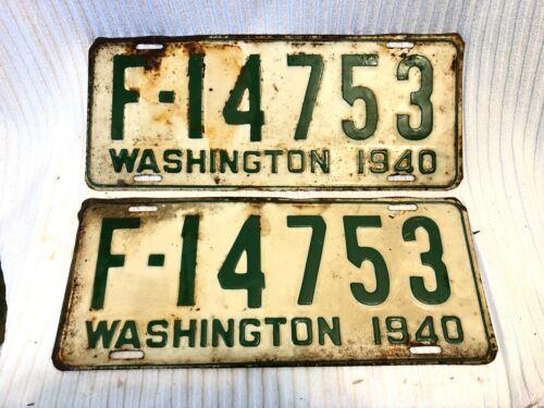 VTG PAIR - WASHINGTON STATE  LICENSE PLATES, 1940  -FARM FRESH!