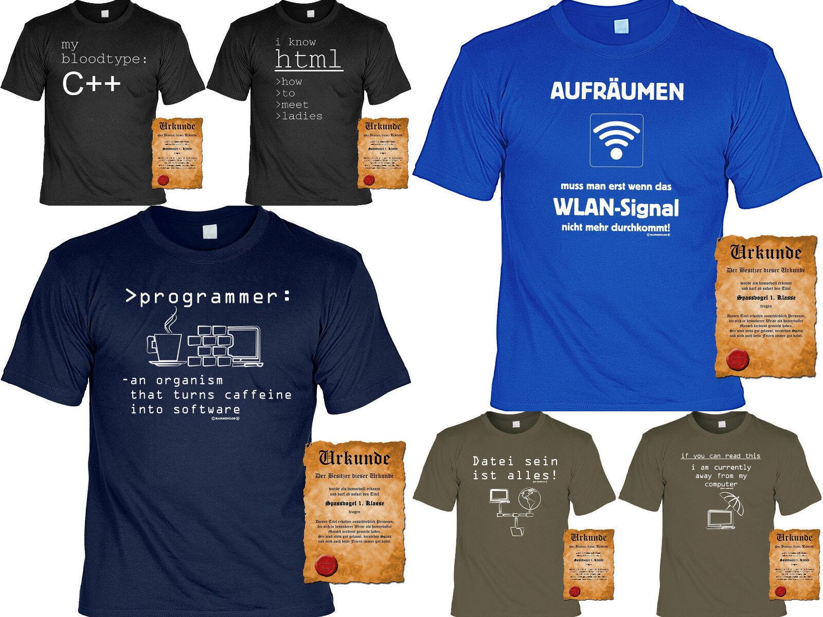 Cooles Fun Partyshirt Funshirt Computer Sprüche T-Shirt Nerd Wlan Computerfreak