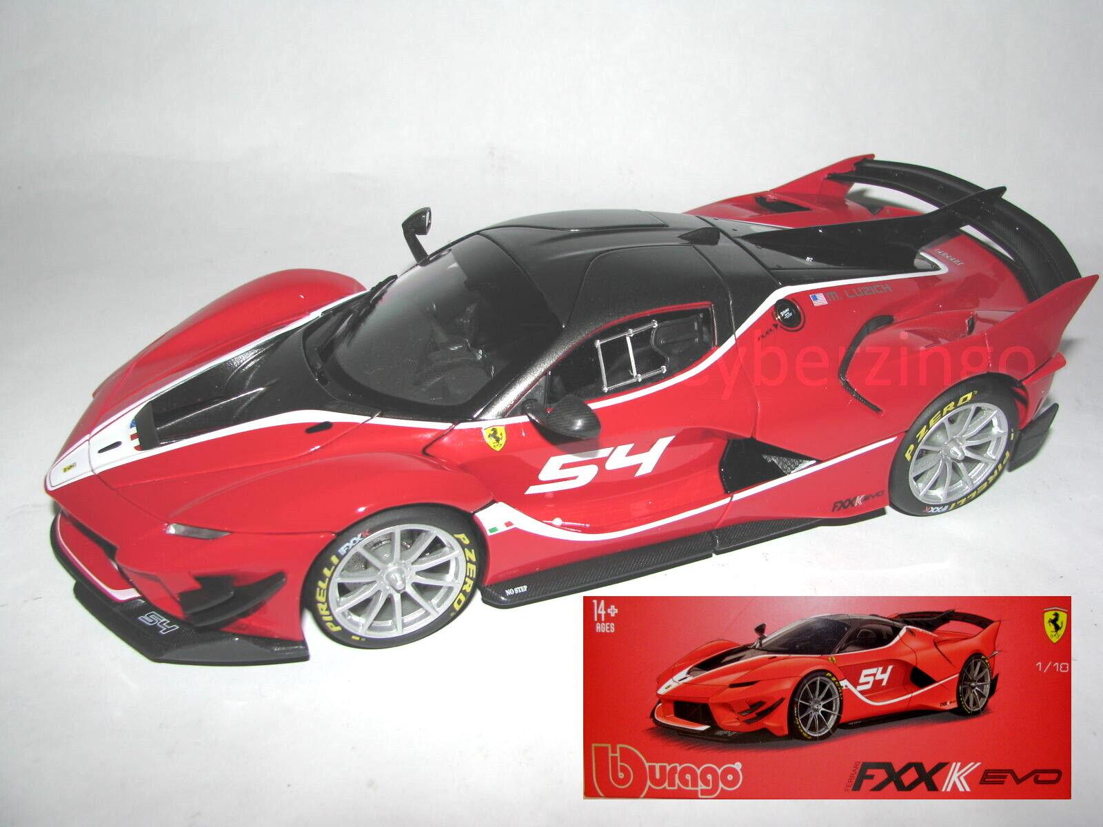 Ferrari Fxxk Evo 54 Luzich Bburago 1 18 Red Diecast Model Car Fxx K New In Box 4893993169085 Ebay