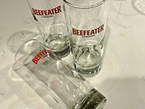 Red Beefeater London Gin Bar Glass set of 3