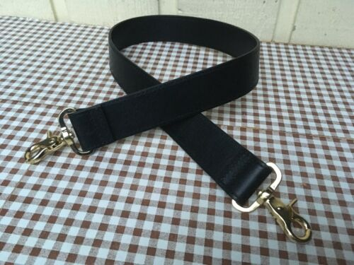 "Black genuine leather handbag universal replacement strap 30"" Long x 1.3/8"" W."