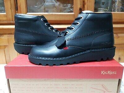 Kickers Kick Hi  Black  Leather Boots  New UK Size 9 RRP £80