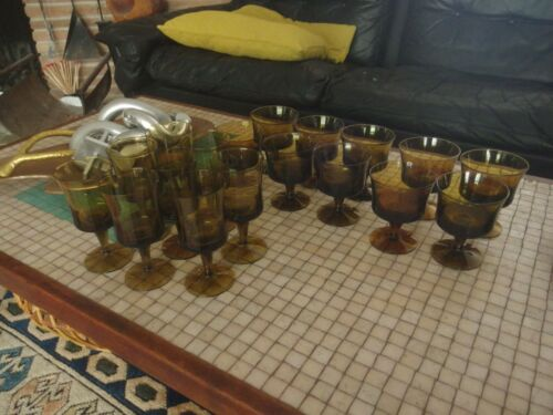 Lot Vintage Mid Century Sweden Denby Milnor Arabesque Amber Glasses