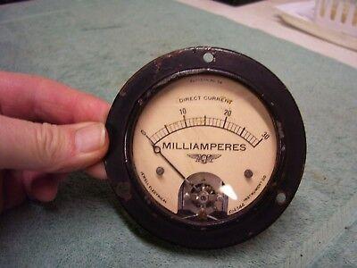 Vintage Jewell Dc Milliamperes Gauge Pattern 54 0-30