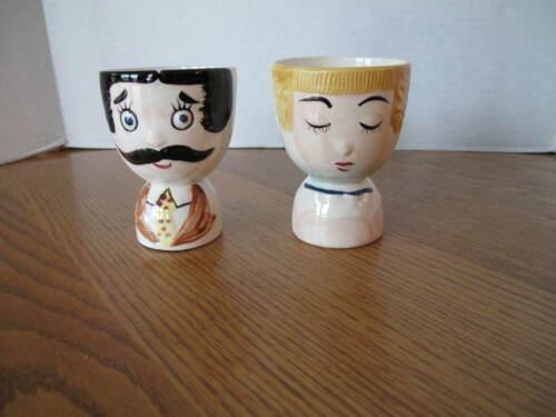 Vintage Figural Egg Cups Lady & Gentleman Ceramic Egg Cup Set