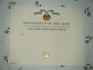 U.S. ARMY ACHIEVEMENT MEDAL CERTIFICATE - MINT - FREE SHIPPING