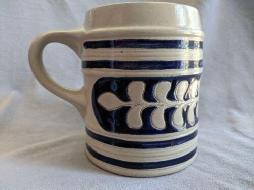 Vintage Salt Glazed Cobalt Blue Oak Leaf Design Large Mug Tankard, Williamsburg