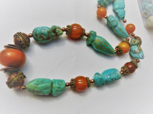 African Amber and Amazonite Necklace, Huge and Chunky !