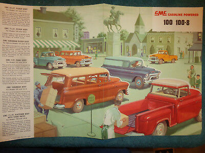 1955 GMC 1/2 TON TRUCK SALES FOLDER / ORIGINAL DEALER BROCHURE PICKUP SUBURBAN+