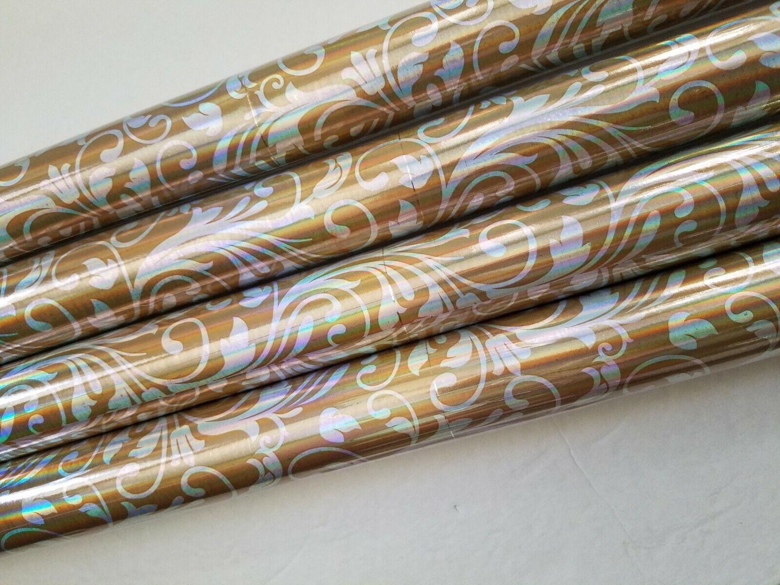 Gold Foil Christmas Wrapping Paper  Fleur de Lis Gift 4 Roll