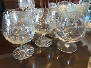 Pinwheel crystal glasses set of 6