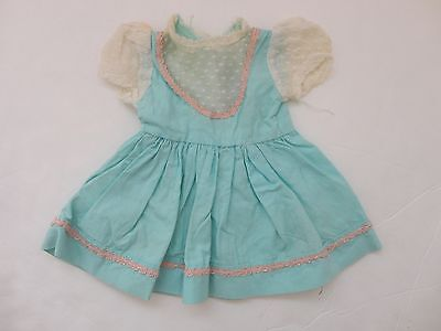 CUTE VINTAGE FACTORY MADE BLUE W PINK DOLL DRESS