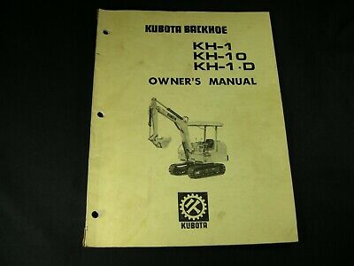 Kubota Kh-1 Kh-10 Kh-1.d Backhoe Owners Operator Maintenance Manual Book List
