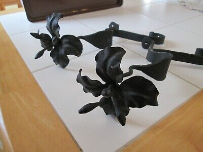 2 BLACK CAST WROUGHT IRON PLANT HANGERS W/ FLOWER ON ENDS