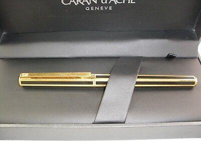 BEAUTIFUL CARAN D'ACHE GOLD&BLACK CHINESE LACQUER HEXAGONAL ECALLIA FOUNTAIN PEN